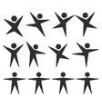 people human icon shape set black vector image
