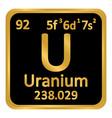 periodic table element uranium icon vector image vector image