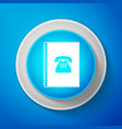 phone book icon isolated on blue background vector image vector image