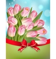Pink tulips with bow EPS 10 vector image vector image