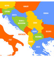 political map of balkans - states of balkan vector image