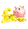 pound sign piggy bank vector image