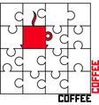 puzzle with a cup of coffee vector image