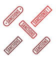 rectangular rubber stamp with text sanction vector image vector image