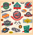 set of retro vintage car labels vector image