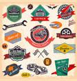 set retro vintage car labels vector image