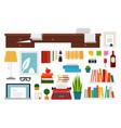 set writer workplace flat vector image