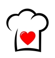 sign with chef hat and heart vector image vector image