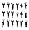 silhouette protesting people with hands up set vector image