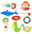 swimming set with swimmers and equipment vector image vector image