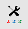 tools icon a wrench and a screwdriver vector image vector image