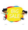 two cartoon kids jump near banner big sale vector image vector image