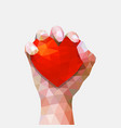 valentine day hand and hearts symbol vector image