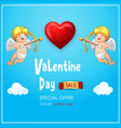 valentines day sale banner with cute couple cupid vector image