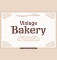 vintage bakery label on light background vector image