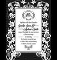 vintage baroque style wedding invitation card vector image vector image