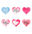 watercolor hearts for st valentine s day vector image vector image
