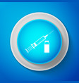 white medical syringe with needle and vial icon vector image