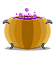 witch cauldron with a halloween pumpkin shape vector image