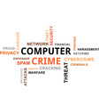 word cloud computer crime vector image vector image