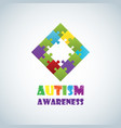 world autism awareness day with colorful puzzle vector image