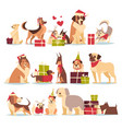 group of cute dogs in santa hats symbol of 2018 vector image