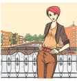 City scene and young girl vector image