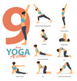 9 yoga poses for easy yoga at home vector image vector image