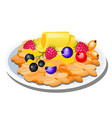 a plate of oatmeal and fresh berries isolated on vector image vector image