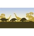Ankylosaurus silhouette of scenery vector image vector image
