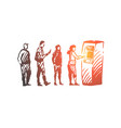 atm queue people money machine vector image vector image