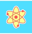 atom sticker with shadow isolated on blue vector image vector image