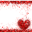 background red hearts vector image vector image