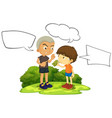 bad young boy with speech balloon vector image vector image