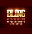 bling style gold font design alphabet letters and vector image