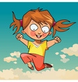 cartoon funny little girl joyfully jumping vector image vector image
