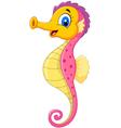 Cartoon watercolor Seahorse with happy face