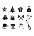 christmas black icons in big set vector image