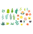 collection set simple flower and leaves design vector image