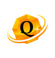 diamond swoosh initial q vector image vector image