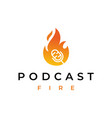 fire flame podcast mic logo design vector image vector image