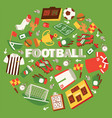 football equipment with field ball trophy vector image vector image