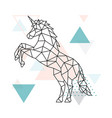 geometric unicorn design outline geometric vector image vector image