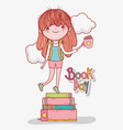 girl read books with coffee cup vector image vector image