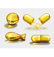 gold oil capsules vitamine supplements collagen vector image vector image