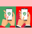 green shield on smartphone screen male and female vector image