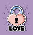 heart in padlock shape to love symbol vector image
