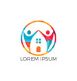 house and people logo design vector image vector image