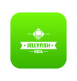 jellyfish sea icon green vector image vector image