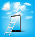 ladder to cloud through smart phone vector image